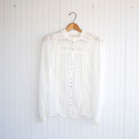Vintage Sheer White Longsleeve Lace Blouse - S