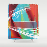 Abstract 131 Shower Curtain by Ramon Martinez Jr