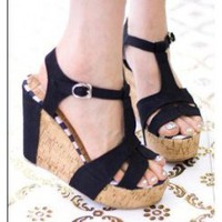 Wholesale New wedges sandals cake with women canvas sandals CZ-0713 black - Lovely Fashion
