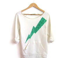 Green Lightning Bolt Hand STENCILED Deep Scoop Neck Heather Artist Series Sweatshirt in Heather Cream - S M L XL