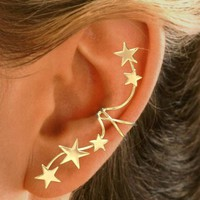 5 Star Gold Vemeil Ear Cuffs - Full Ear