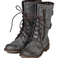 Nature Breeze Lug-12 Distress Zipper Lace Up Military Mid Calf Boot - Brown PU
