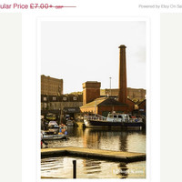 ON SALE Early Evening Warmth - Industrial photography - Chimney - Harbour photography - Bristol - Autumn light