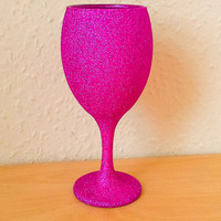 Glitter Wine Glass Hand Decorated