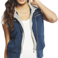 Twill Hooded Vest | Wet Seal
