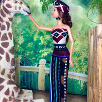 Barbie Doll Dress - Geometric African Inspired Tube Top Maxi Dress and Hat For Barbie Doll