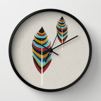 Feather Art Wall Clock by Uma Gokhale | Society6