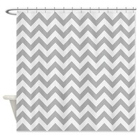 Grey Shower Curtain - Chevron #3 - Ornaart Design
