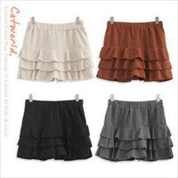 Pretty Elastic Waist Layered Flouncing Divided Skirt Apricot-Wholesale Women Fashion From Icanfashion.com