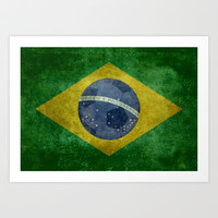 Vintage Brazilian National flag featuring a football ( soccer ball ) Art Print by LonestarDesigns2020 - Flags Designs +