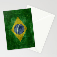 Vintage Brazilian National flag featuring a football ( soccer ball ) Stationery Cards by LonestarDesigns2020 - Flags Designs + | Society6