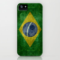 Vintage Brazilian National flag featuring a football ( soccer ball ) iPhone & iPod Case by LonestarDesigns2020 - Flags Designs +