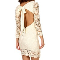 Alaina- Crochet Open Back Dress