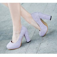Wholesale Waterproof sets in pure color single pump shoes CZ-0467 light purple - Lovely Fashion