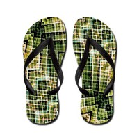 Digital Collage Pattern Flip Flops