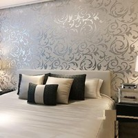 Sliver Gray Victorian Damask Embossed Textured Wallpaper High Quality