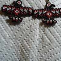 brick stitch beaded Tribal Raven earrings