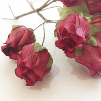 Silk Roses Silk Flowers Fabric Flowers for Flower Crowns 6 Roses