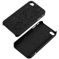 Black 3D Sculpture Rose Flower Floral Case Cover Skin for IPHONE 4 4S free shipping