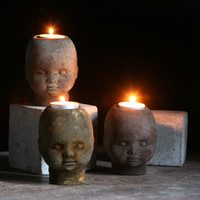 Concrete Johnny Head Tea Light Holder