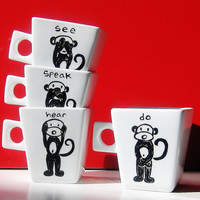 Three Wise Monkeys Mug Set of 4, 3 Wise Monkeys, Three Mystic Apes, Mizaru, Kikazaru, Iwazaru