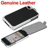 Black Leather Metal Chrome Case Cover Skin for Apple iPhone 4 4S free shipping