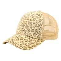 Low Profile Canvas Leopard Print Mesh Trucker Cap (Various Colors)