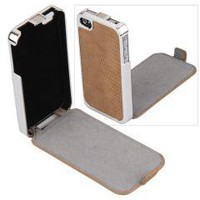 Brown Flip Leather Chrome Case Cover Skin for iPhone 4 4S 4G free shipping