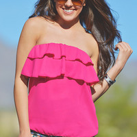 Ruffle Me Pretty Top - Fuchsia