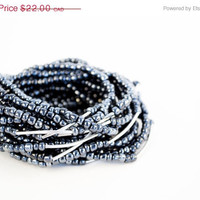 SPRING SALE Set of Black Seed Beads Stretchy Bracelets