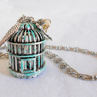 IMPENDING FREEDOM Vintage Inspired Shabby Chic Birdcage Necklace by WilwarinDesigns