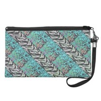 Zebra Stripe and Teal Glitter Sparkle Wristlet