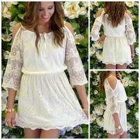Old Soul Natural Open Shoulder Lace Dress