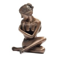 Art Deco Bronze Penny for them Nude Figure Statue