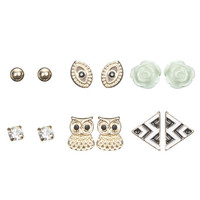 Owl Mixed Button Earring Set | Wet Seal