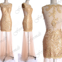 See Through Lace Prom Dresses, Straps Long Champagne Lace Prom Gown, Lace Evening Dresses, Lace Formal Dresses