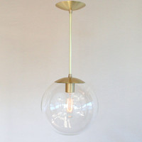 "Mid Century Modern 10"" Globe Pendant Light - Clear Glass Globe - The Orbiter 10 with Brass Stem"