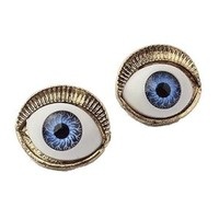 Yazilind Cool Mysterious Design Blue Evil Of Eye Gold Plated Alloy Gothic Stud Earrings for Girl