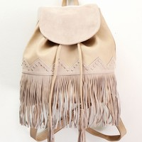FRINGE BACKPACK - CREME