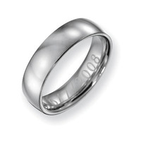 Men's 6.0mm Engraved Stainless Steel Polished Wedding Band (27 Characters) - Personalized Rings - Shared - Zales