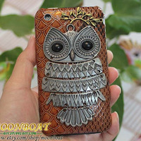 Personalized Antique Silvery Cute Owl And Hard Case by moonboat
