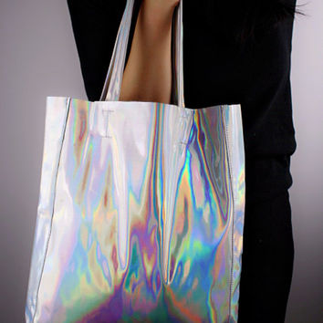 Holographic Metallic Over Size Tote Bag Silver Vegan Patent Leather Large Clutch Purse Bag Handbag Satchel Handmade Holographic-Effect