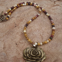 Rose Pendant Necklace with Rose Toggle and Clasp of Antique Brass and Mookiate Jasper, For Her