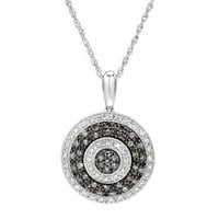Sterling Silver 0.75 CTW Diamond Pave Pendant Necklace, 18