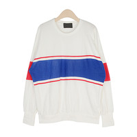 Round Neck Sweatshirt With Color Stripes by Stylenanda