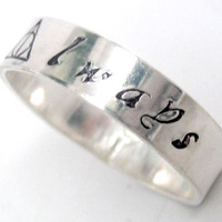 Always - Sterling Silver Ring, Harry Potter Inspired Soldered Band with Deathly Hallows Symbol