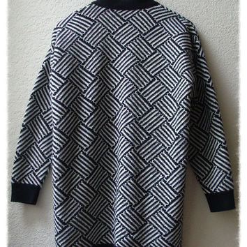 Vintage Abstract Grapnhic Open Cardigan Sweater Knit Oversize Jacket — Bib + Tuck