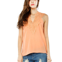 Papaya Clothing Online :: LACY CHIFFON SLEEVELESS TOP