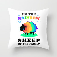 The Rainbow Sheep of the Family Throw Pillow by LookHUMAN