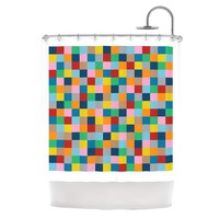 "Kess InHouse Project M ""Color Blocks Zoom"" Shower Curtain, 69 by 70-Inch"